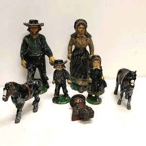 Antique John Wright Cast Iron Amish Figures Made I